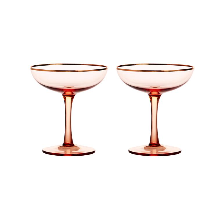 Hippe champagnecoupes roze met gouden rand - Happy Musthaves tips van Foodinista