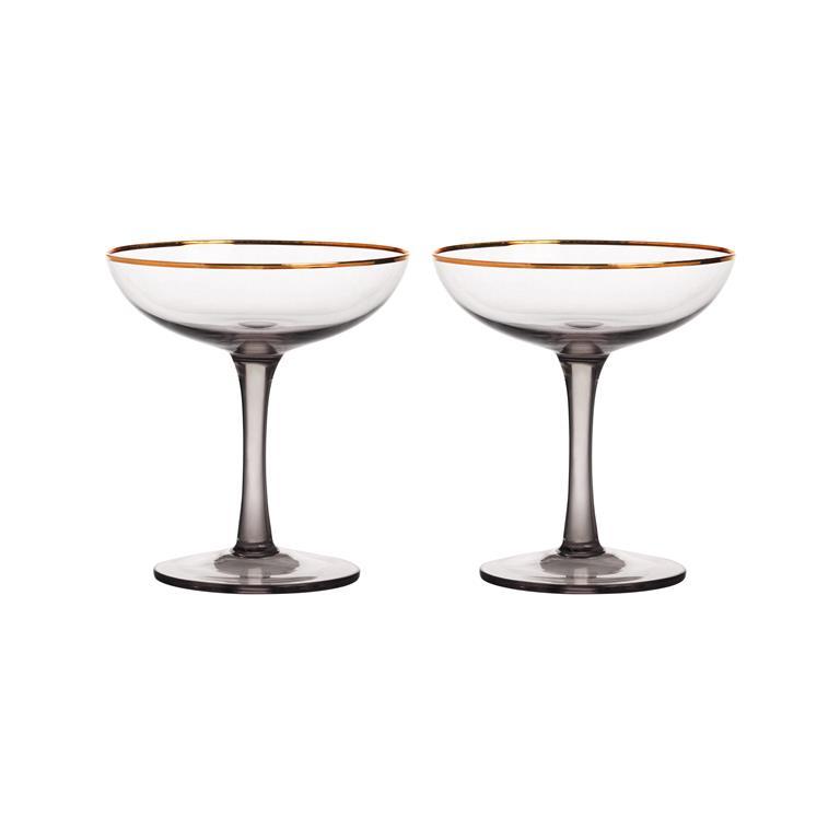 Hippe champagnecoupes zwart met gouden rand - Happy Musthaves tips van Foodinista