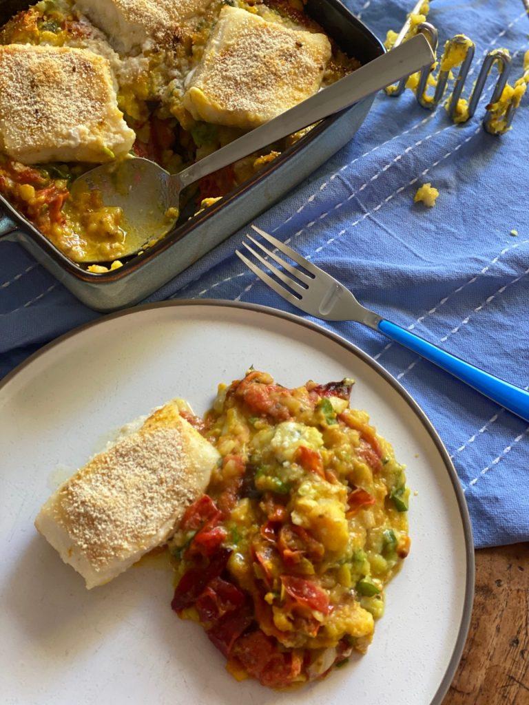 Preistamppot met kabeljauwhaasjes uit de oven met lekker kerrie smaakje - Stamppot recept Foodblog Foodinista