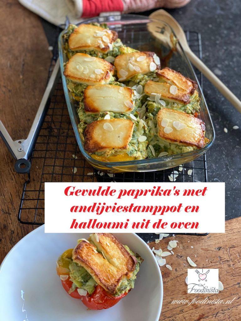 Ovenschotel recept gevulde paprika met andijviestamppot en halloumi