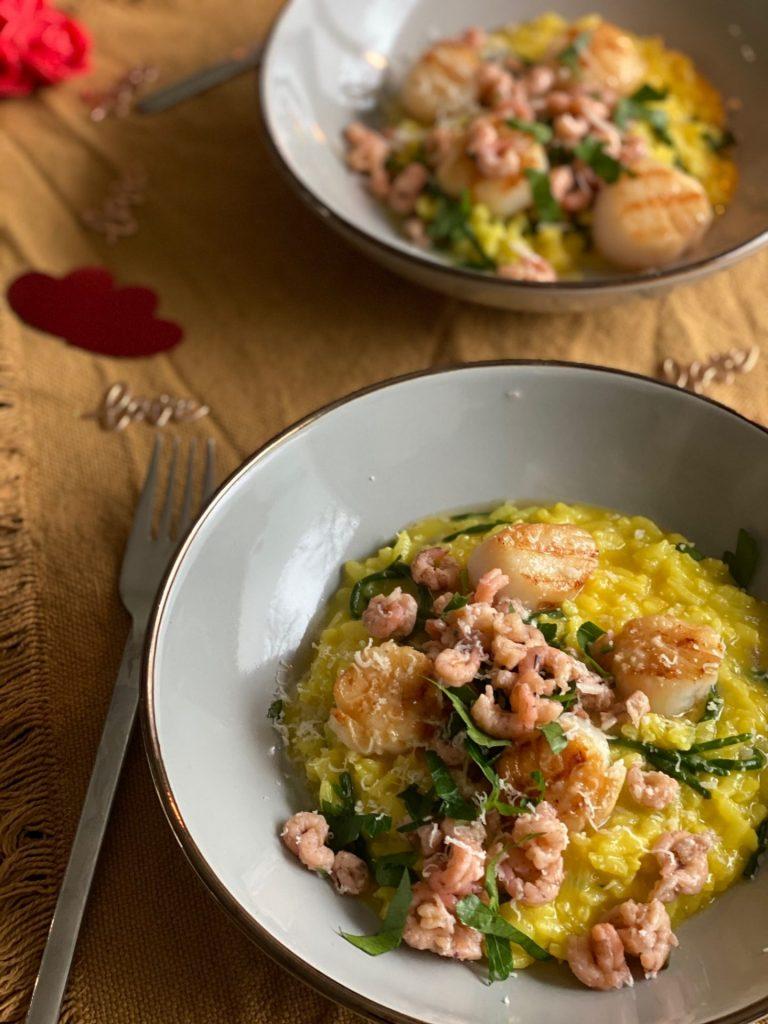 Saffraanrisotto met coquilles en Hollandse garnaaltjes - Foodblog Foodinista