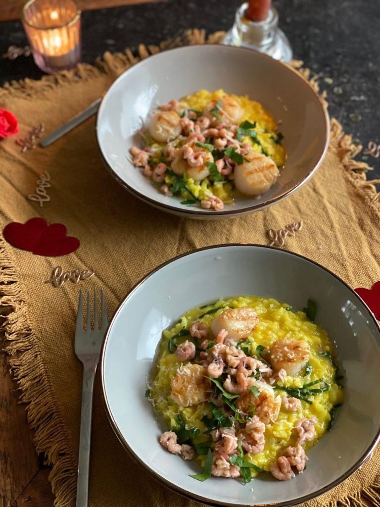 Saffraanrisotto recept met coquilles en Hollandse garnaaltjes - Foodblog Foodinista