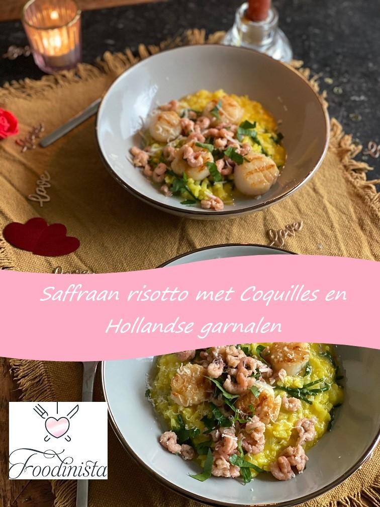 Risotto recept met saffraan, coquilles en Hollandse garnalen - risotto recepten van Foodblog Foodinista