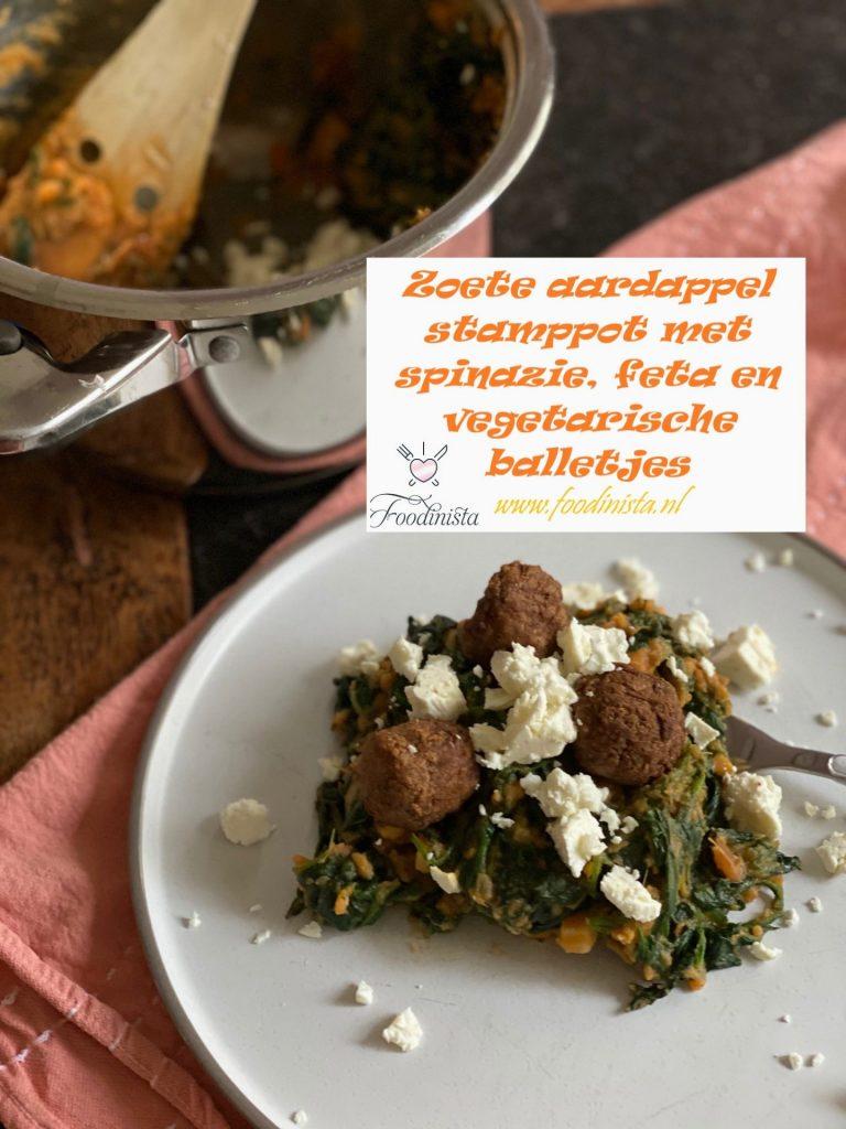 Spinaziestamppot met zoete aardappel, feta en vega balletjes - Vegetarisch stamppot recept van Foodinista