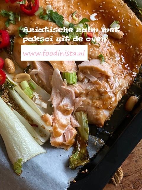 Hoisin zalm met paksoi in sesam marinade uit de oven - Zalm recept van Foodblog Foodinista