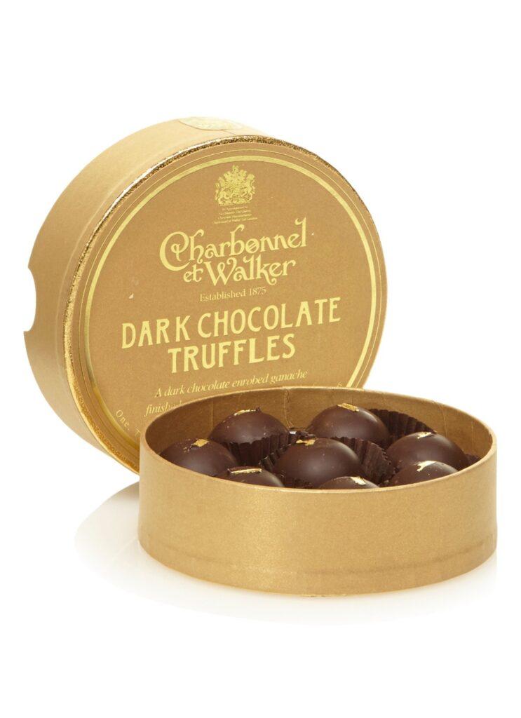 Donkere chocoladetruffels met goud - Vaderdag cadeautjes met chocolade
