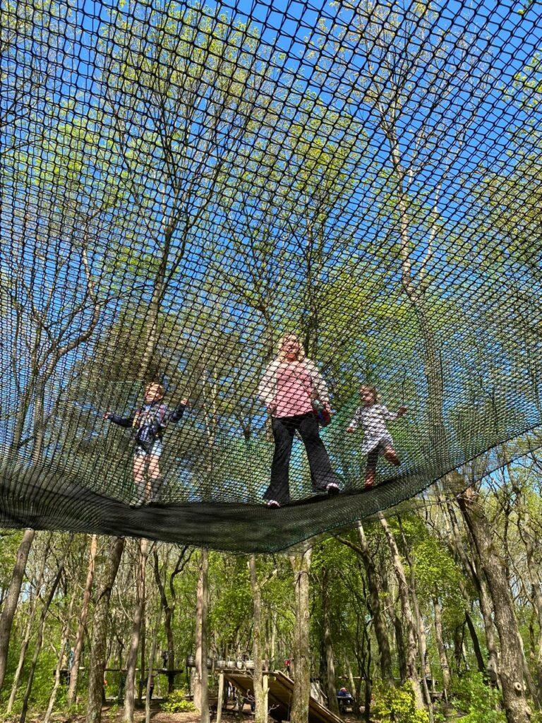 Uitleven op de supertrampoline tussen de bomen - Klimpark voor kleine kindjes in Drenthe