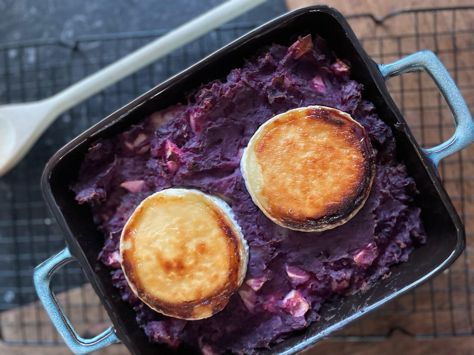 Rode kool stamppot ovenschotel met geitenkaas en appel - Foodblog Foodinista